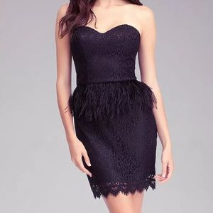NWOT Bebe strapless lace feather dress size 4 S